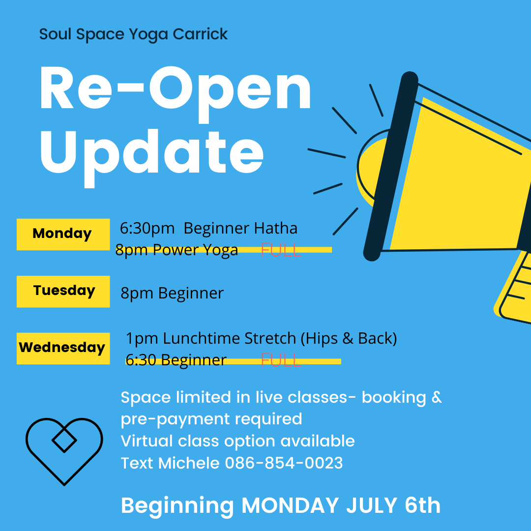 Yoga & Meditation return to Soul Space July 6th